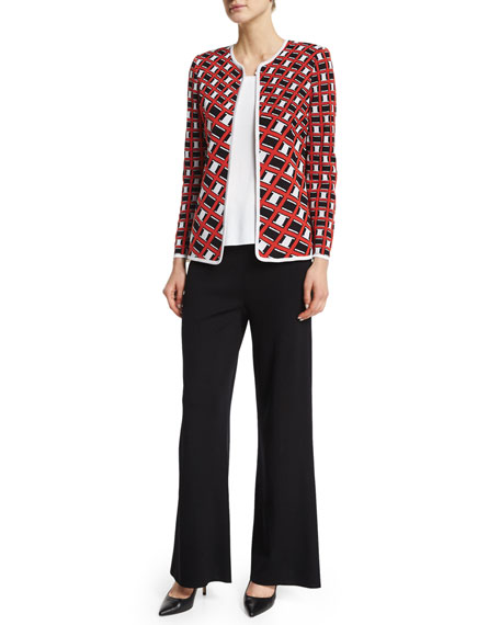 Misook Graphic-Print Short Jacket, Plus Size