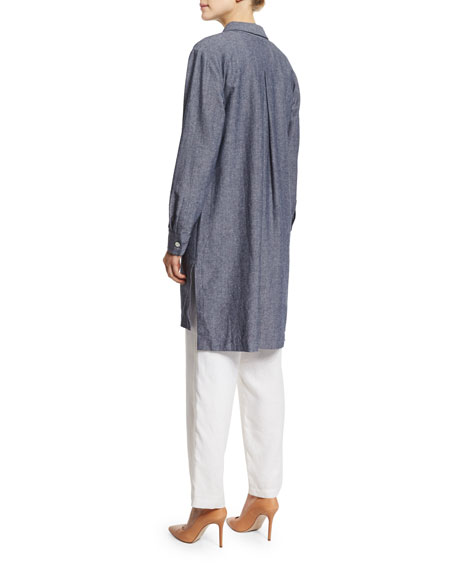 Long-Sleeve Cross-Dye Linen Duster Jacket, Petite