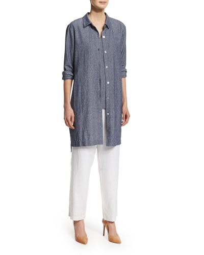 Long-Sleeve Cross-Dye Duster, Sleeveless Cross-Dye Tank & Straight-Leg Lined Linen Pants, Plus Size
