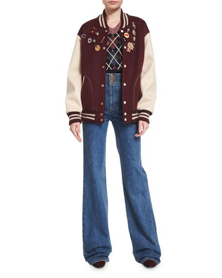 Marc Jacobs Embellished Oversized Varsity Jacket, Bordeaux