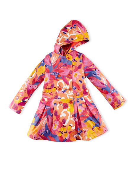 Catimini Hooded Floral Raincoat, Red, Size 4-8
