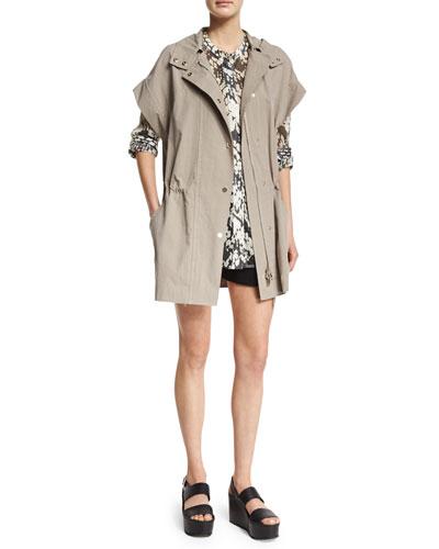 Vince Short-Sleeve Hooded Anorak Jacket, Basketweave-Printed