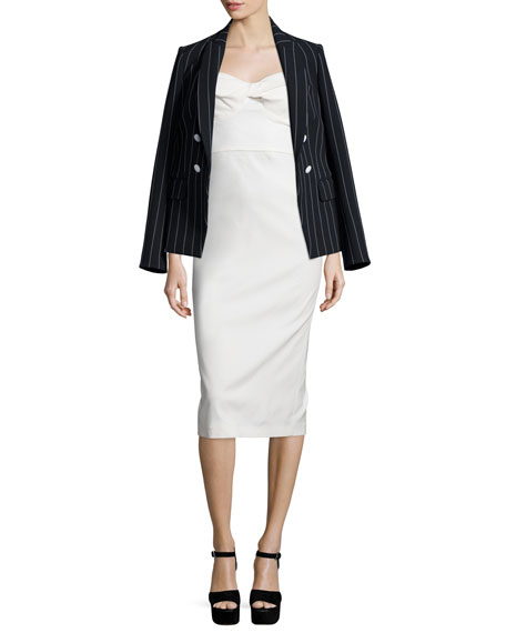 Veronica Beard Daytona Pinstriped Cutaway Blazer, Black/White