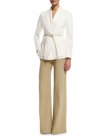 Escada Cashmere Open-Front Jacket W/Belt, Off White