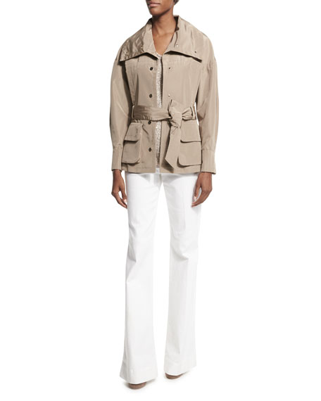 Escada Snap-Front Belted Safari Jacket, Sand Dune