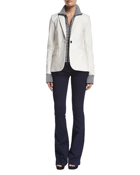 Veronica Beard Classic One-Button Jacket, White