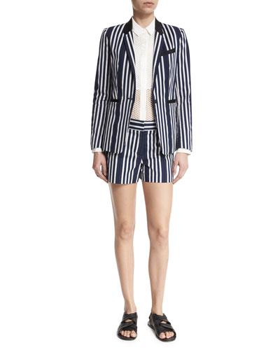 Windsor Striped Woven Blazer, Luna Long-Sleeve Mesh Top & Willow Striped Cotton-Blend Shorts