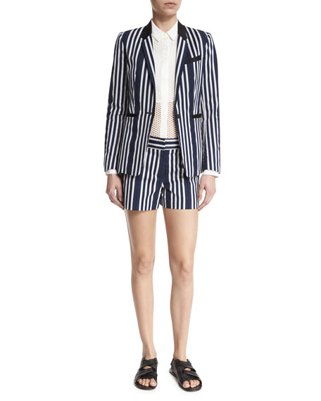 Rag & Bone Windsor Striped Woven Blazer, Navy/White