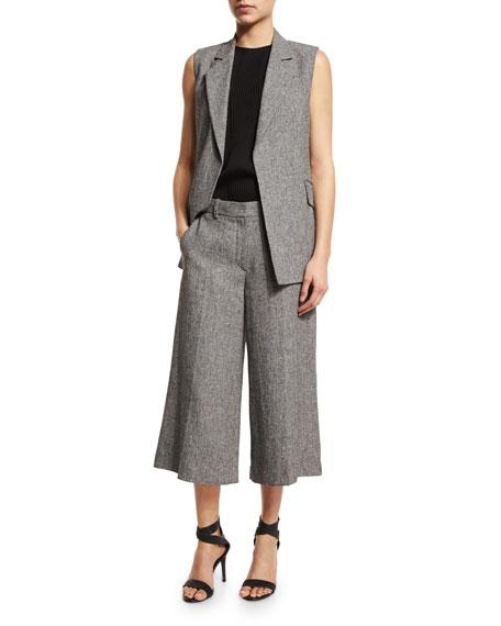 TheorySedeia Open-Front Long Vest, Black/White