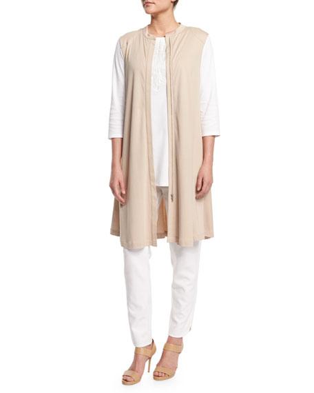 Joan Vass Easy Luxe Pima Cotton Long Zip-Front