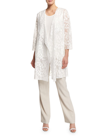 Caroline Rose Rain Lace Sheer Topper Jacket, White