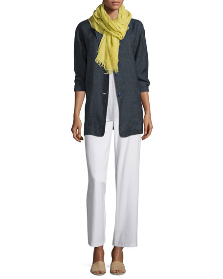 Eileen Fisher Organic Linen One-Button Long Blazer, Petite