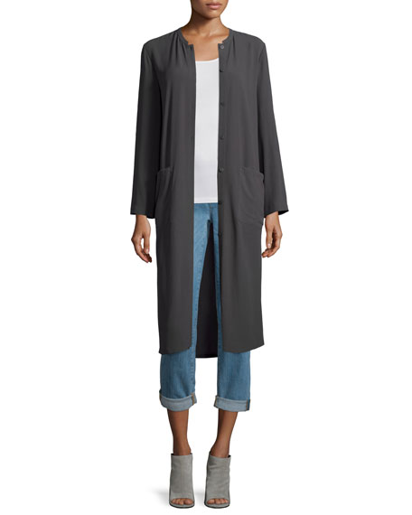 Eileen Fisher Long Button-Front Silk Duster Coat, Petite