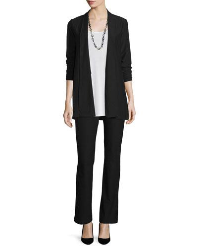 Washable Stretch Crepe Long Jacket, Long Silk Jersey Tunic & Washable-Crepe Boot-Cut Pants, Petite
