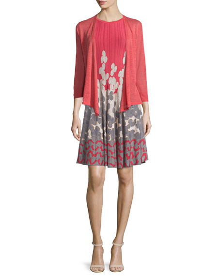 NIC+ZOE 4-Way Linen-Blend Cardigan, Spiced Rose, Petite
