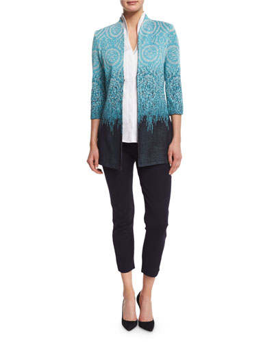 Ombre 3/4-Sleeve Jacket, Sleeveless Stretch Cotton Shirt & Slim Cropped Ankle Pants, Plus Size