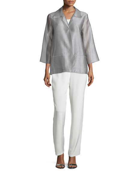 Caroline Rose Occasion Organza Easy Shirt, Platinum, Petite