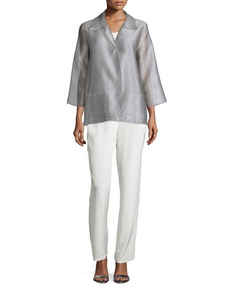 Caroline Rose Occasion Organza Easy Shirt, Platinum, Plus