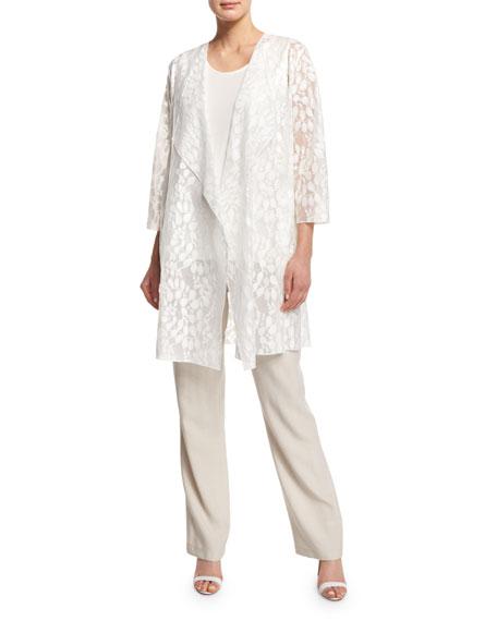 Caroline Rose Rain Lace Sheer Topper Jacket, White,