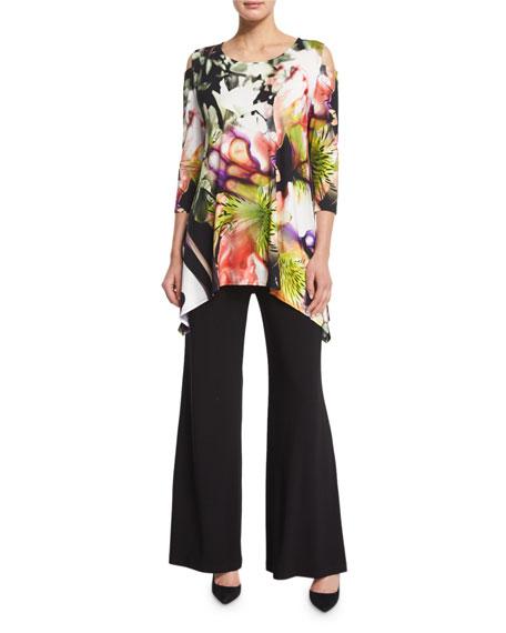 Caroline Rose Cold-Shoulder Alfresco-Print Tunic Top, Plus Size