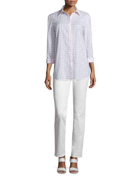 Lafayette 148 New YorkBrody Button-Front Check-Print Blouse, Day