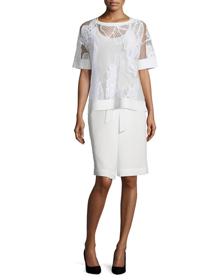 Lafayette 148 New York Short-Sleeve Floral-Embroidered Top