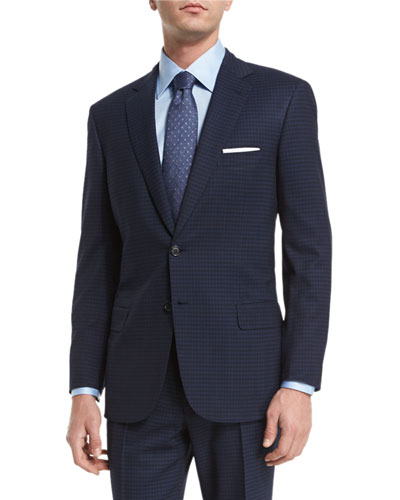 Brioni Check Two-Piece Wool Suit & Chambray Flower-Print