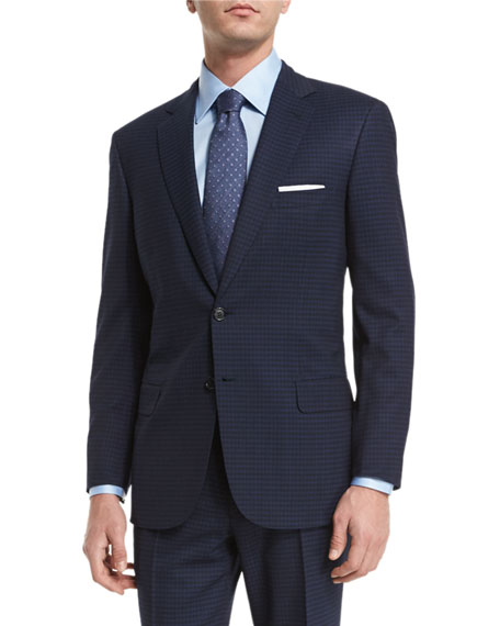 Brioni Check Two-Piece Wool Suit, Navy/Black