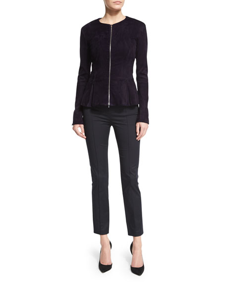 THE ROW Anastra Zip-Front Suede Jacket, Grape