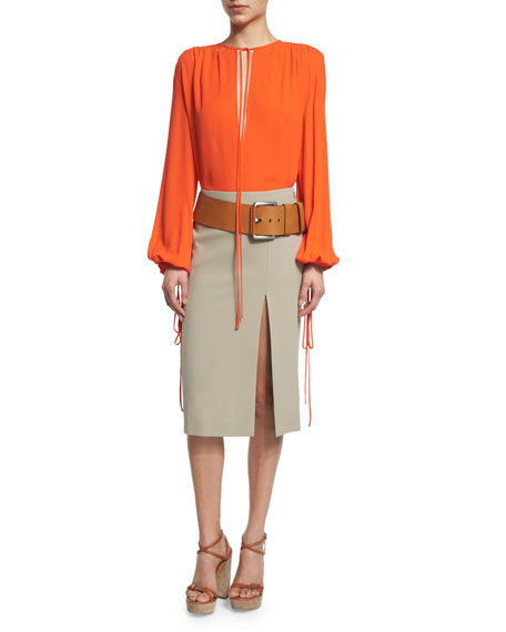 Michael Kors Collection Silk Georgette Tie-Neck Blouse, Sienna