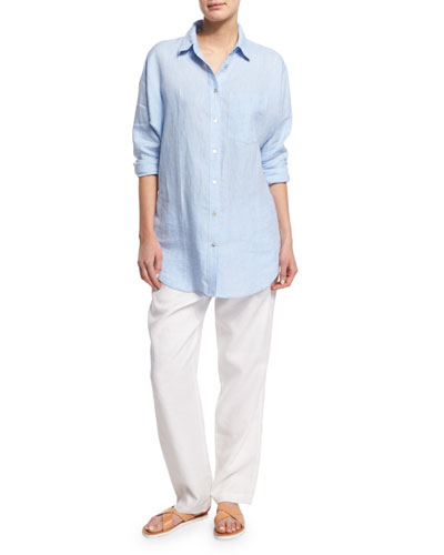 Long-Sleeve Cross-Dye Linen Big Shirt & Straight-Leg Lined Linen Pants, Petite