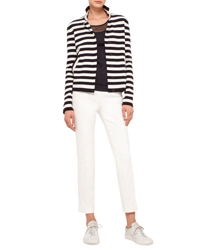 Striped Knit Stretch-Wool Jacket, Scoop-Neck Tee with Mesh Detail & Franca Elements Slim-Leg Ankle Pants