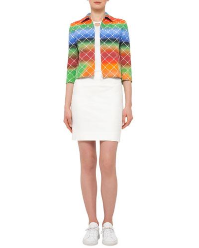 3/4-Sleeve Cropped Baseball Net-Print Jacket, Sleeveless Jewel-Neck Top W/Cutout & Fitted Back-Zip Jersey Skirt