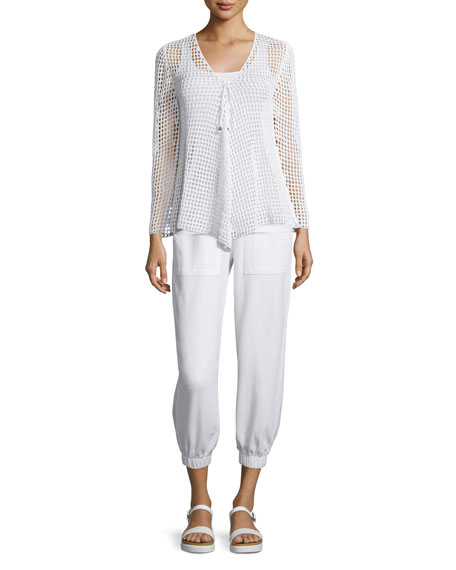 Neon Buddha Rhonda Long-Sleeve Crochet Tunic Sweater, White