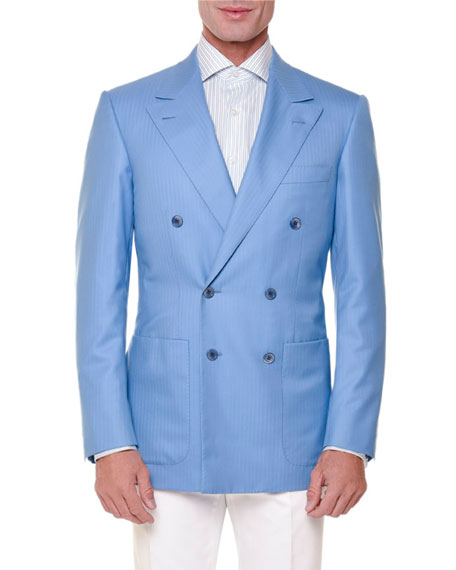 Tonal-Stripe Double-Breasted Sport Coat, Light Blue