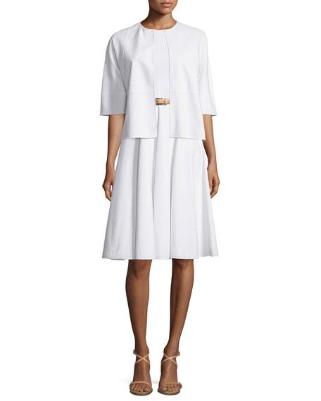 Michael Kors Collection Cookie Half-Sleeve Jacket, Optic White