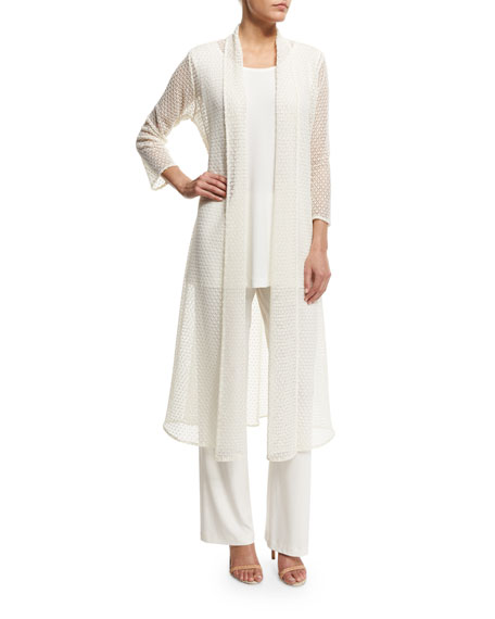 Caroline Rose Drama 3/4-Sleeve Crochet Duster Coat, Women's