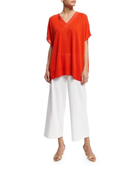 Joan Vass V-Neck Boxy Linen-Blend Sweater, Petite