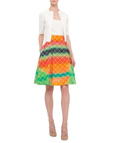 Half-Sleeve Honeycomb-Knit Cardigan, Honeycomb-Knit Scoop-Neck Tank Top & Net-Print A-Line Cotton Skirt