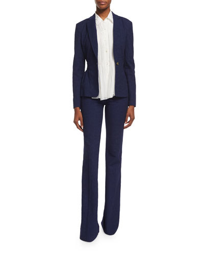 Diane von Furstenberg Gavyn Chambray Single-Button Blazer,