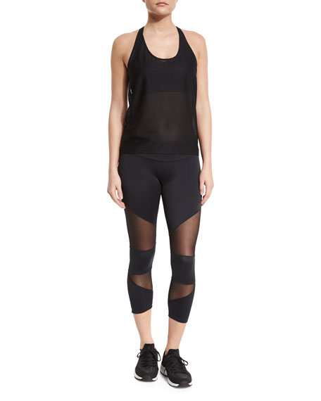 Onzie T-Back Mesh Athletic Tank, Black