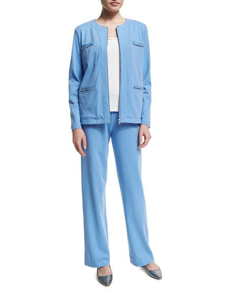 Joan Vass Long-Sleeve Four-Pocket Chain-Trim Jacket, Cornflower,