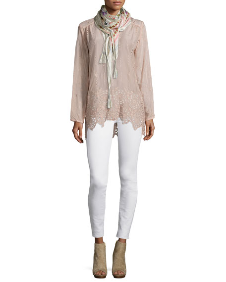 Johnny Was Collection Long Shirred-Yoke Eyelet Tunic, Blush,