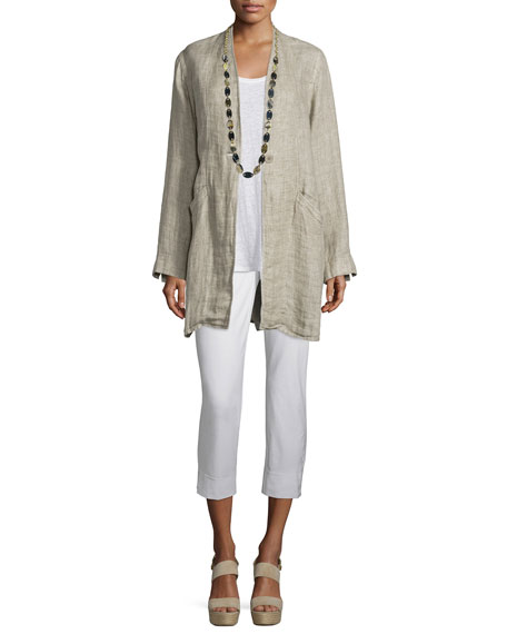 Eileen Fisher Organic Linen One-Button Coat, Natural