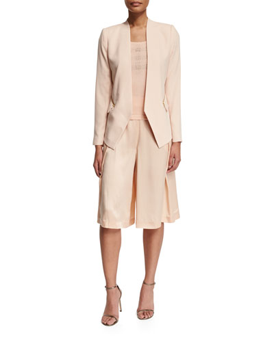Crepe Zip-Pocket Jacket, Embellished Sleeveless Tank & Silk Pleated Long Skort