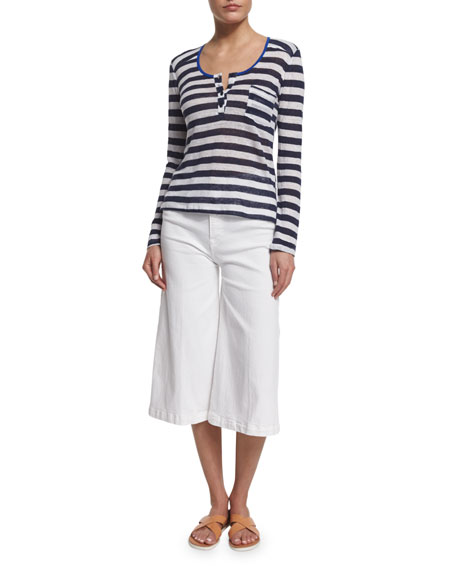FRAME DENIM Le Nautical Striped Linen Henley Top,