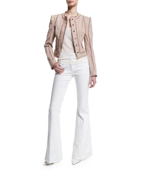 TOM FORD Long-Sleeve Jacket W/Fringe-Seams, Nude/Light Pink