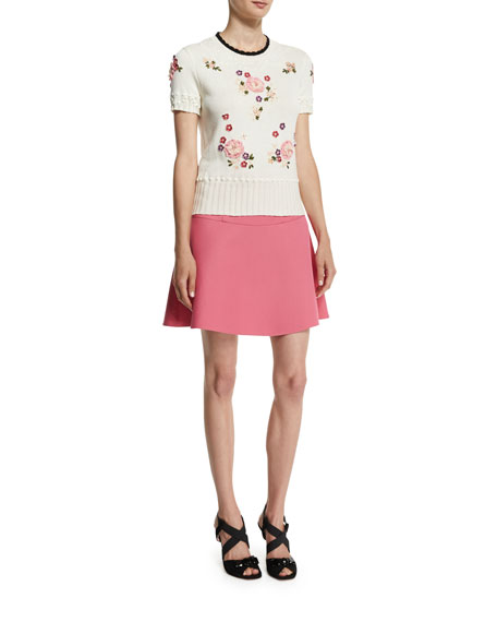 RED Valentino Short-Sleeve Floral-Embroidered Knit Top