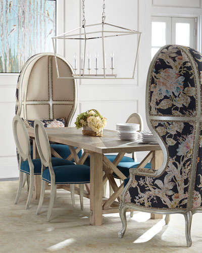 Rosetta Balloon Chair, Plymouth Dining Table, & Paige Linen Dining Chair