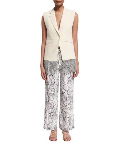 Cotton Fringe-Trim Vest & Creased Snake-Print Pajama Pants